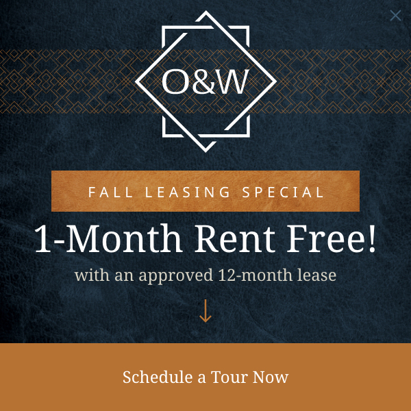fall leasing special. 1-month rent free with an approved 12-month lease.